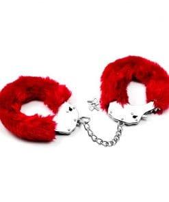 Fetish Pleasure Fluffy Hand Cuffs Red