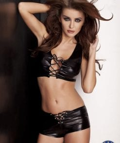 Lizzy Wet Look Front Tie Top and Shorty Set Black