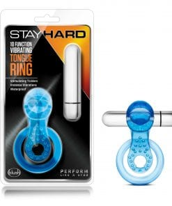 Stay Hard 10 Function Vibrating Tongue Ring Blue