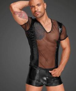 Tulle Men Shirt With Decorative PVC Pleats