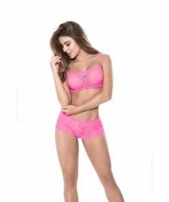 Lace 2 Pc Set Hot Pink